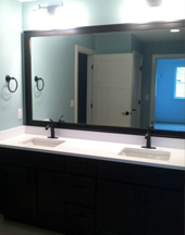 Vanity mirror set in wood frame in Ankeny and Des Moines area